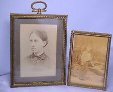 Set Of Two Vintage Engraved Solid Brass Frames For 3.75 x 2.75 And 3 x 2 Photos