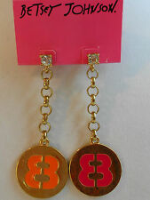 Betsey Johnson Status Crystal Post $50 Goldtone Chain 88 Pink Orange Earrings