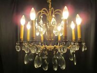 vintage chandelier fabulous brass & crystal light fixture elegant french style