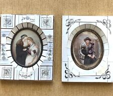New listing Pair Of Antique Continental Judaica Hand Painted Framed Miniatures