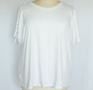 NEW Woman Within White Plus Size 1X Top Raglan Sleeves with Laced Seams