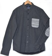 AMERICAN RAG CIE Men's Button Down Long Sleeve Gray Shirt Geometric Panels Large
