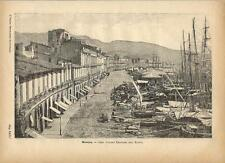 Stampa antica MESSINA Corso Vittorio Emanuele Sicilia 1891 Old antique print