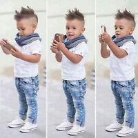 3PCS Toddler Baby Boys Tops T-shirt Scarf Denim Pants Kids Clothes Suit Outfits