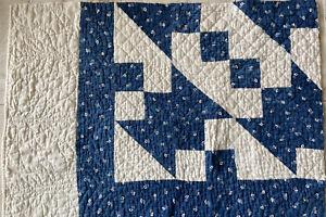 """Vintage Cutter Quilt Piece1900's  Blue White 18""""X25""""Crafts Pillow Mat Stacker"""