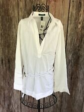 RALPH LAUREN white Crisp Belted Tunic Top Blouse New With Tags XL