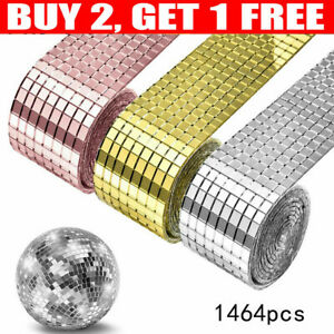 1roll Mosaic Tiles Mirror Self Adhesive Sticker Mini Squares for DIY Decoration