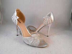 Pink Paradox London Silver Peep Toe Heels Women's Sz 8.5 M
