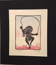 "Helen Siegl Philadelphia Artist Wood Block print  ""AKA, BAKER...""  AKA JUMP ROPE"