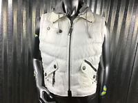 Maurices Ivory Hooded Puffer Vest Pewter Detail Zipper Women's Jacket Size L