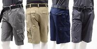 "Men's Wear First Comfort Flex Waist Free-Band Belted Work Cargo Shorts W32""-40"""