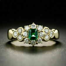 3 Ct Emerald Cut Green Emerald Cluster Engagement Ring 14K Yellow Gold Over