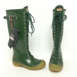Hunter Watling Lace Up Wellington Rain Boot Womens US Size 7 W 6 M Green Wellies