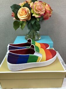 NIB Michael Kors Dylan Leather Rainbow Slip-On Pride Women's Sneakers Shoes 8.5M