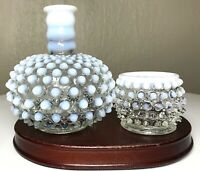 Vintage Fenton Moonstone White & Blue Opalescent Hobnail Perfume Bottle & Cup