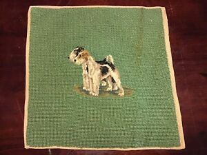 Antique Vintage Handmade Needlepoint Petit Point Dogs on Green