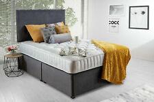 Плюшевая серая кровать комплект с глубоким матрас с эффектом памяти и соответствующий изголовье