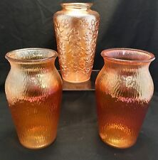 3 Antique Carnival Glass Marigold Crackle & Floral Pattern Flower Vases Vintage