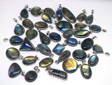 20 PCs Lot Natural Multi Fire Labradorite Gemstone Silver Plated Pendant Jewelry