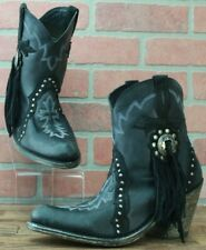 Liberty Black Vegas Fringe Bootie Leather Western SAMPLE Boots Size 7 M