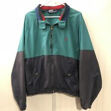 Polo Ralph Lauren Vintage Zip Jacket Men XL Stripe Color Block Green Black RARE