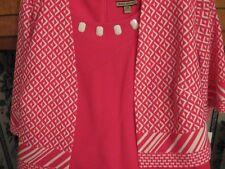 WOMENS DRESS SIZE 22W 2X 1X PLUS SIZE HOTPINK & WHITE DRESS&JACKET RET.$88.00NEW