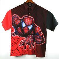 Spiderman Marvel Mens Medium Red Black Button Front Shirt Official Movie Merch