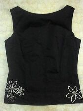 Passports Black Sleeveless Top with Embroidery