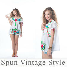 Mexican Oaxacan Hand-embroidered peasant boho gypsy hippie Tent Top Blouse Shirt