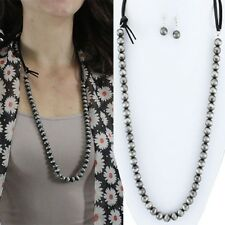 Long Western Faux Navajo Pearl Leather Strap Necklace And Earrings 32""
