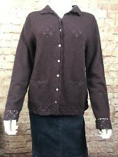 Deane & White Cardigan Medium Lambs Wool Angora Rabbit Hair Purple Open Knit