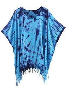 BeautyBatik Blue Womens BOHO HIPPIE Batik Tie Dye Plus Size Tunic Blouse Kaftan
