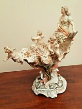 Antique Volkstedt Eckert Pedestal Shell Dish Musical Cherubs & Lady Figure