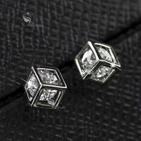 18k white gold gp made with SWAROVSKI crystal cube box stud earrings