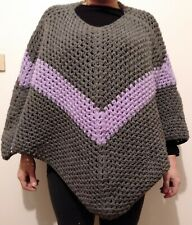 Hand Crocheted Poncho. Grey and Purple.