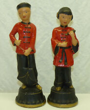 2 Vtg 1950s Alexander Backer Abco Asian Chinese Chalkware Figurines Oriental Mcm