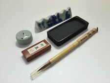 Japanese Calligraphy Tool Set Vtg Water Dropper Brush Paper Weight Syodo k306