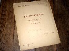 Le printemps poème musical pour piano violon 1908 Maurice Desrez signé incomplet