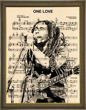 Bob Marley One Love music sheet art print on premium parchment 8x10