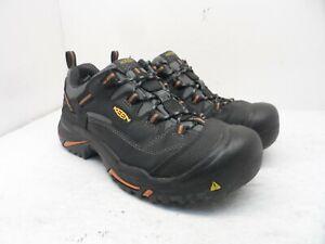 Keen MEN'S BRADDOCK LOW STEEL TOE Work Shoe BLACK/BOSSA NOVA Size 9.5D