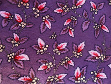 """Flannelette FABRIC Purple Taupe Pink Soft Cotton, Twigs Berries Leaves 42"""" x 28"""""""
