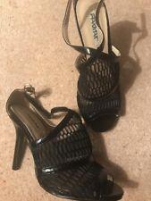 Femmes RAXMAX Taille 4 Noir Talon Haut WEAVE Chaussures NOUVEAU