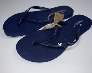 New NWT American Eagle Skinny Slim Flip Flops Sandals Navy Women's Sz Medium 7/8
