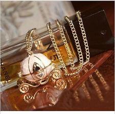W Vintage Cinderella's Pumpkin Carriage Locket Pendant Chain Necklace Can Open
