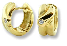 Huggies Style Hinged Hoop Earrings 10k Yellow Gold .04 ctw Diamonds