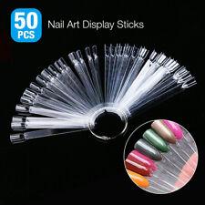 50 Pcs Nail Art False Tips Sticks Polish Practice Display Fan Board Design Tools