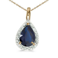 "14k Yellow Gold Pear Sapphire Pendant with 18"" Chain"