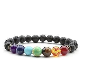 Energy 7 Chakra & Volcanic Stone Beaded Bracelet Healing Reiki Balance Bangle