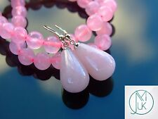 Rose Quartz Natural Gemstone Earrings Drop Quartz Crystal Healing Stone Chakra
