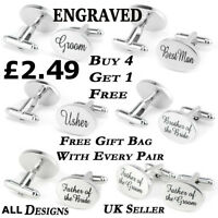 Silver Engraved Wedding Oval Personalised Cufflinks Mens Cuff Links Dad Groom